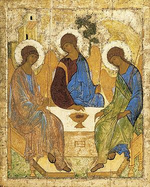Описание иконы «Троица» Андрея Рублева