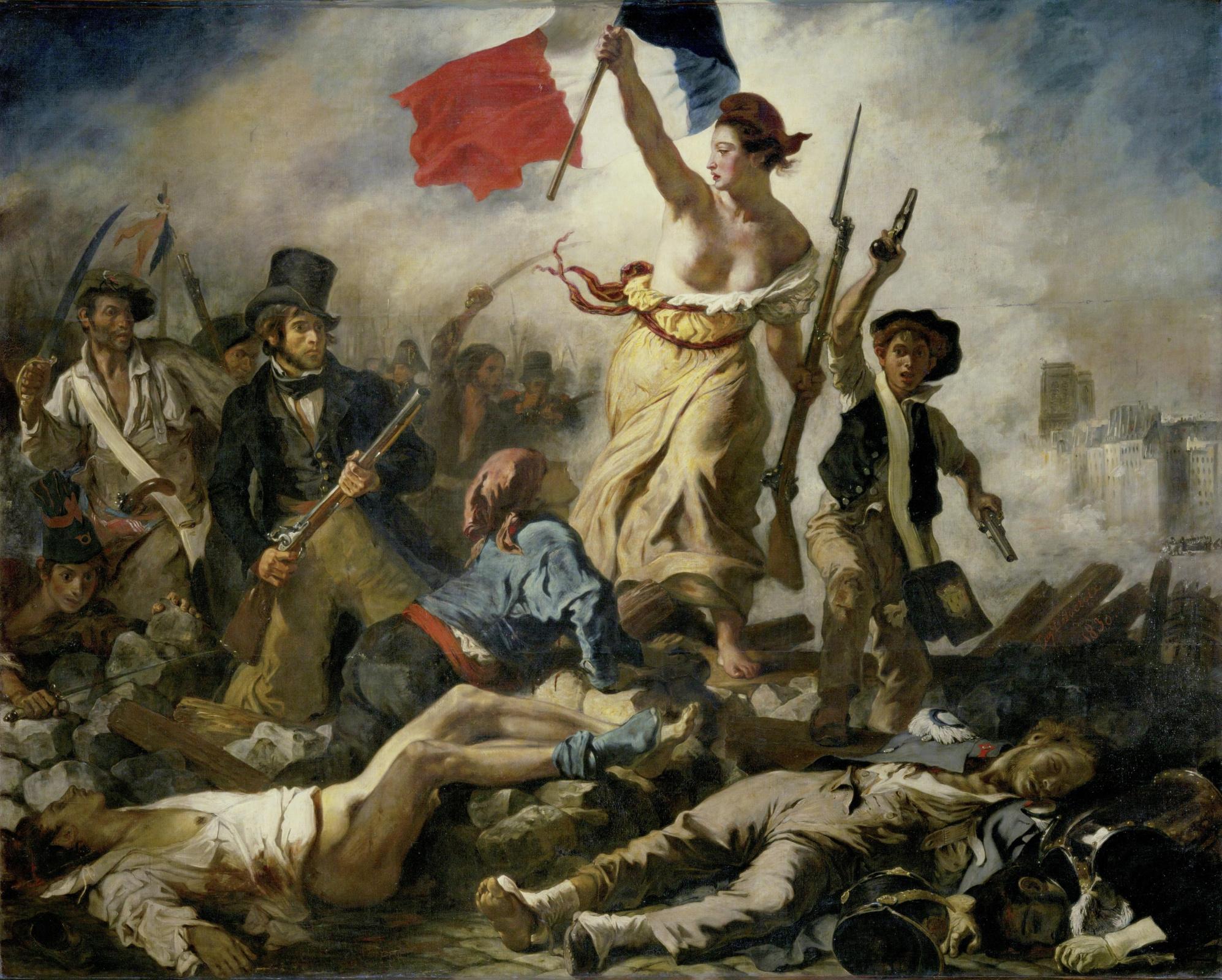 Описание картины Эжена Делакруа «Свобода, ведущая народ»