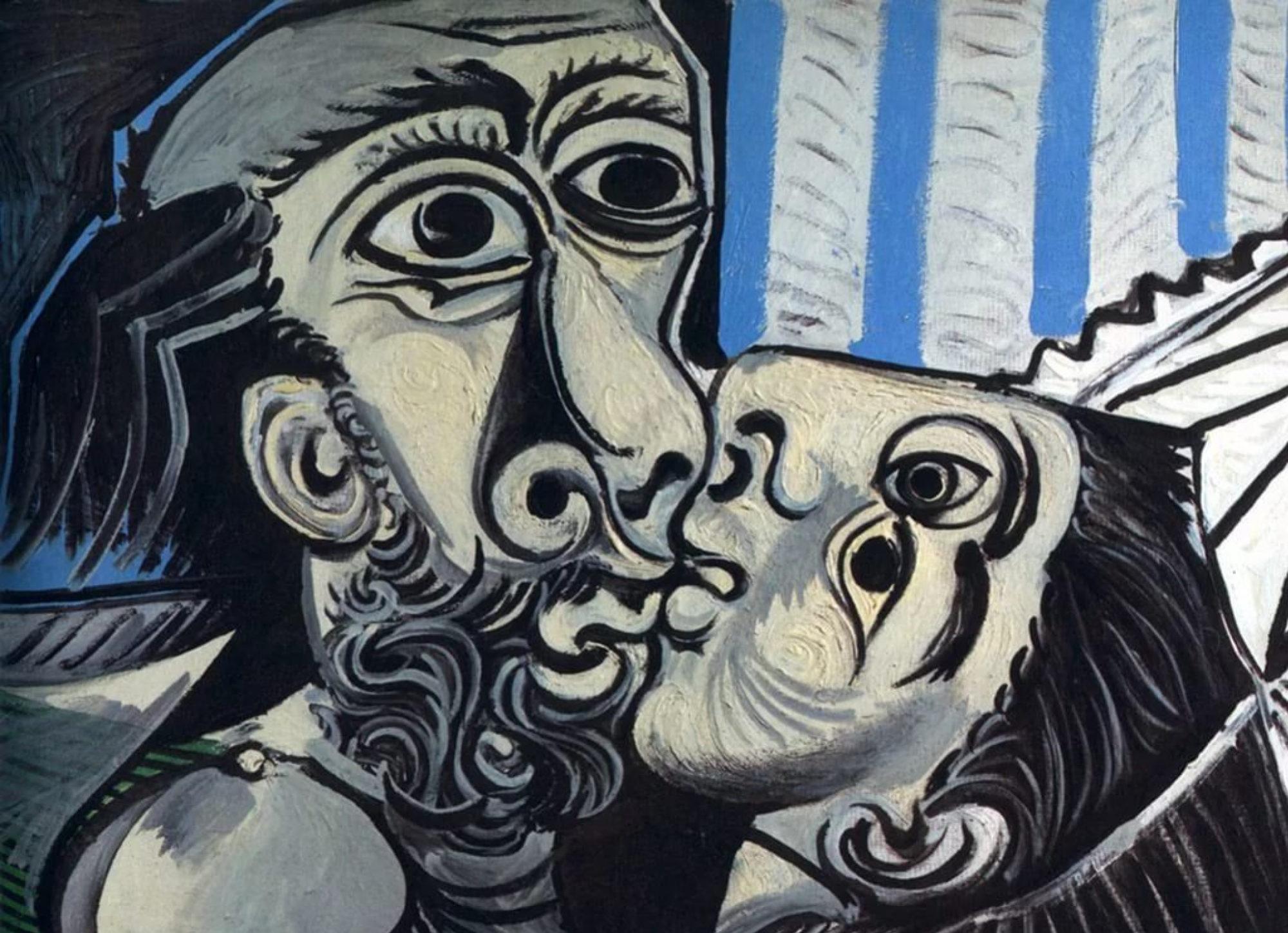 Пабло Пикассо, 1969 год, картина «Поцелуй».