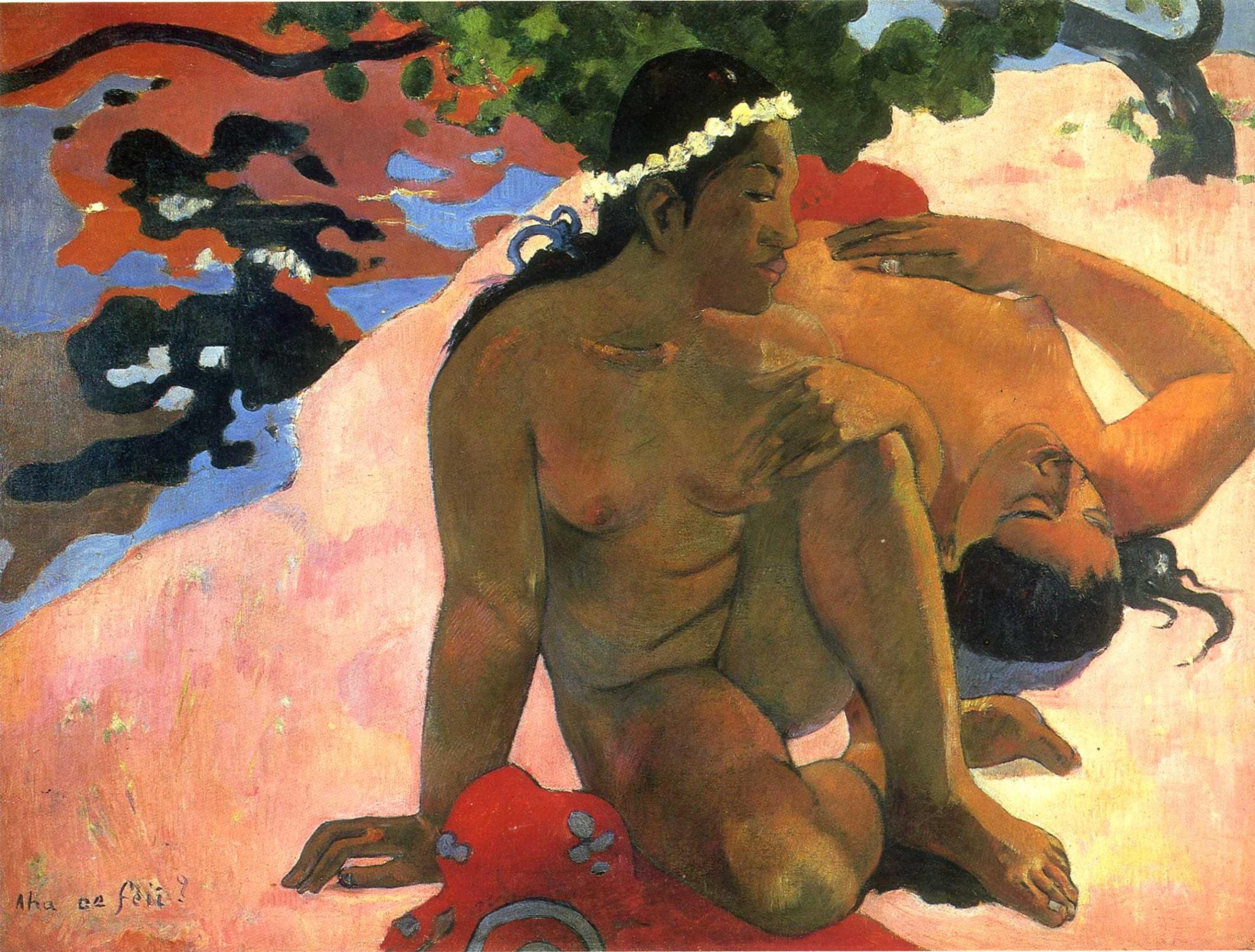Поль Гоген, 1892 год, картина «А ты ревнуешь?».