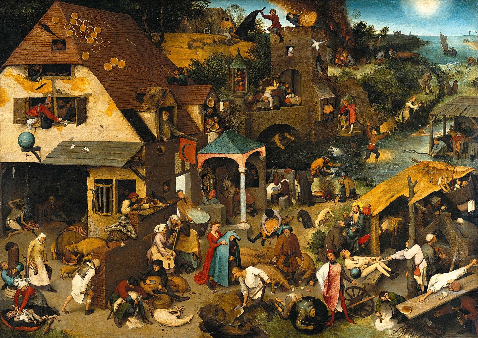 Питер Брейгель, 1559 год, картина «Нидерландские пословицы».
