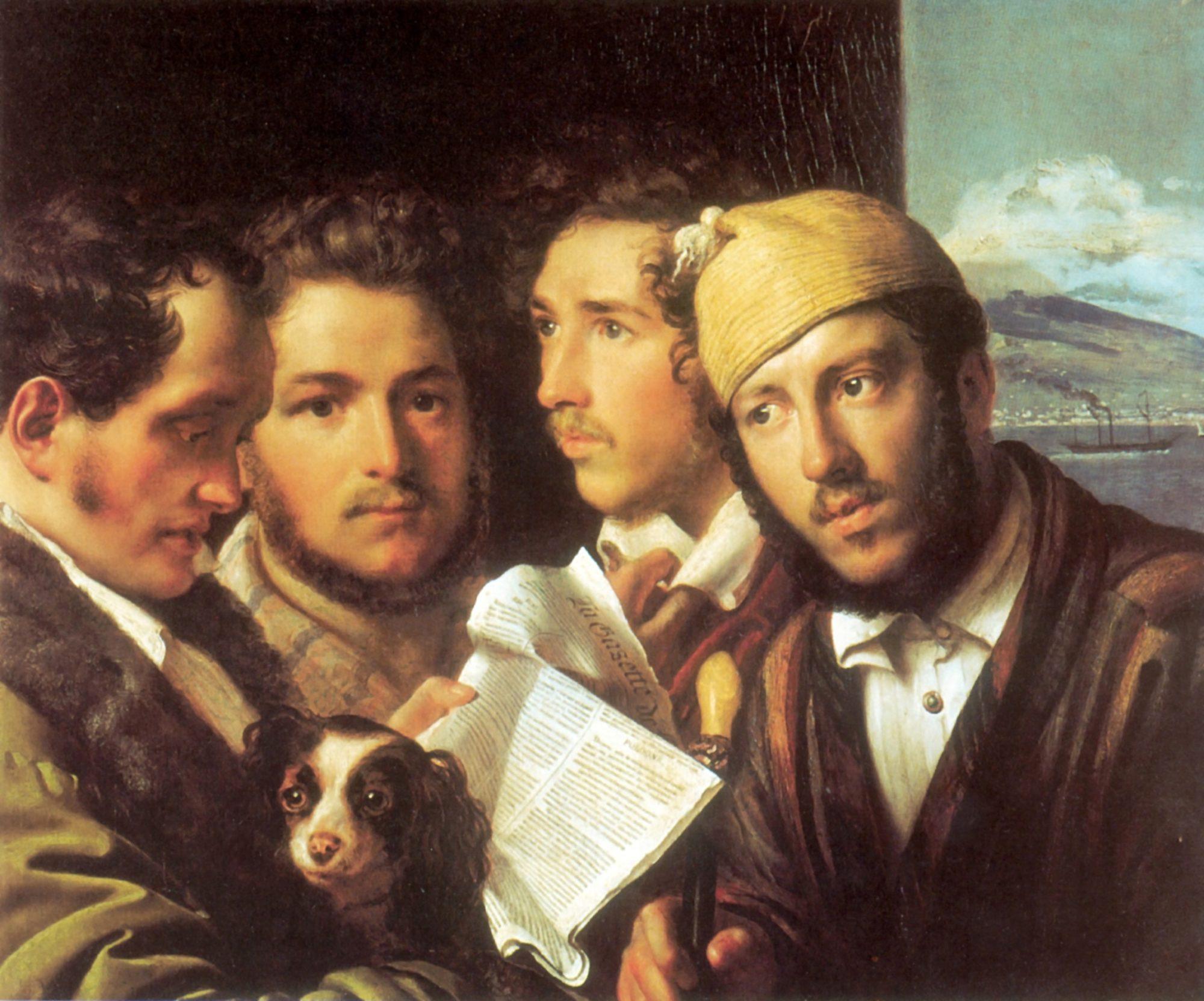 Орест Кипренский, 1831 год, картина «Читатели газет в Неаполе»