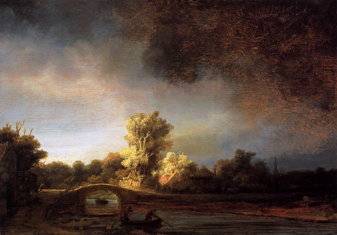 """Описание картины """"Пейзаж с каменным мостом"""" Рембрандта"""