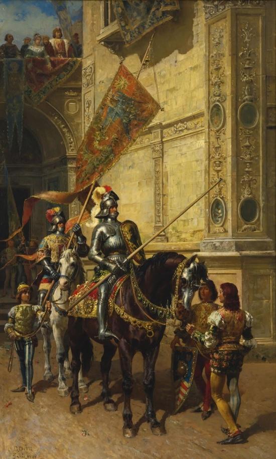 Чезаре Аугусто Детти, 1888 год, картина «На рыцарский турнир»