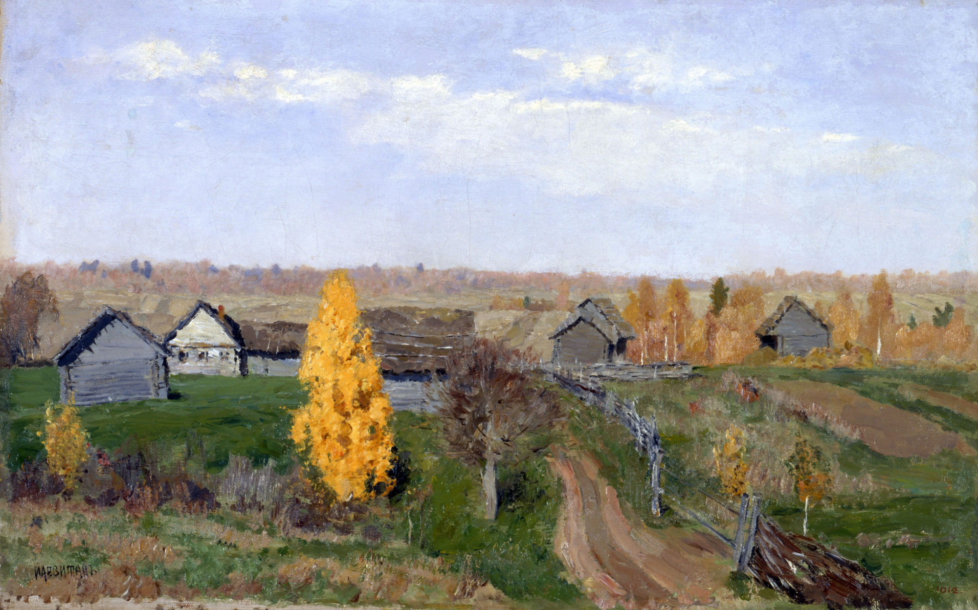 Исаак Левитан, 1889 год, картина «Золотая осень. Слободка».