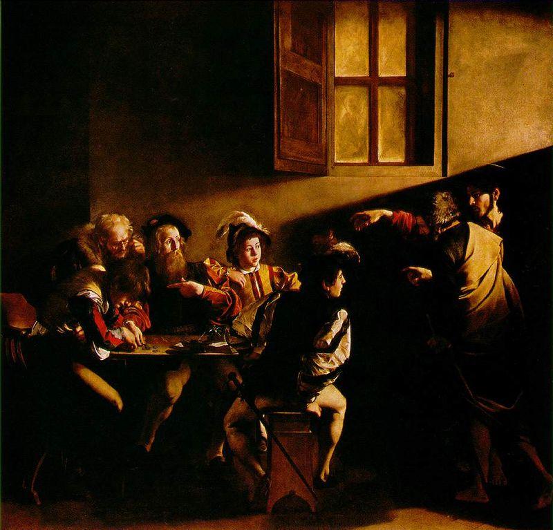 Призвание апостола Матфея, Караваджо, 1599 год, Сан-Луиджи-деи-Франчези,Рим.