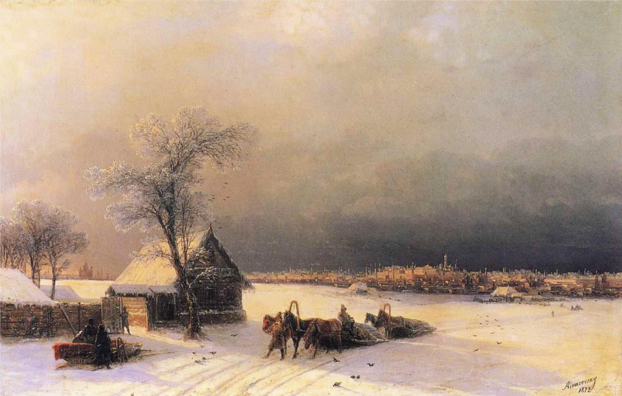 Иван Айвазовский, 1872 год, картина «Москва зимой. Вид с Воробьевых гор».