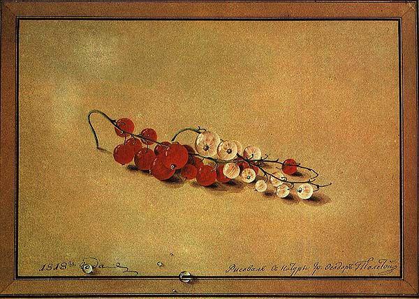 Фёдор Толстой. «Ягоды красной и белой смородины», 1818 год,