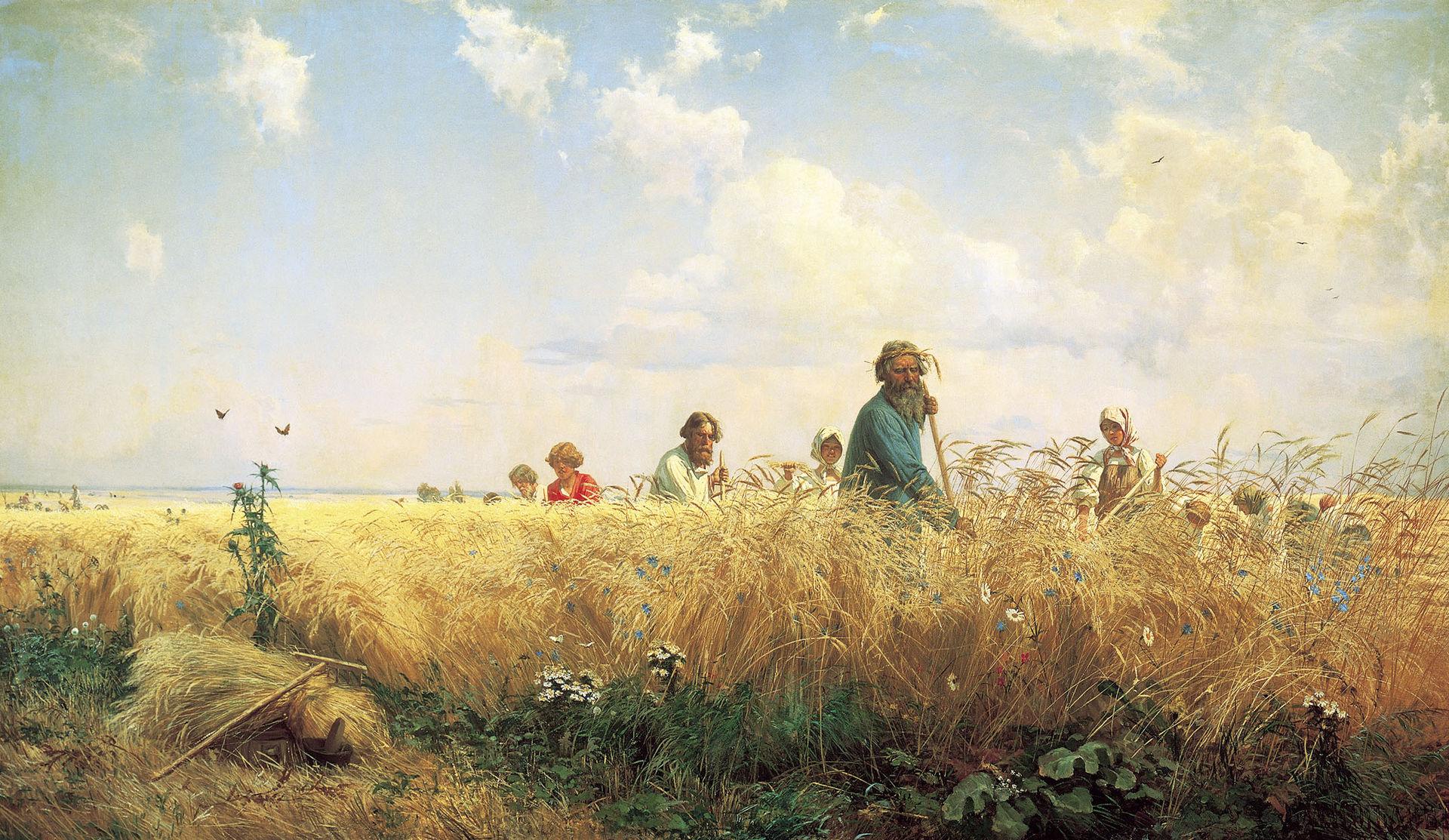 Страдная пора. Косцы, Григорий Мясоедов, 1887 год, Русский музей, Санкт-Петербург.