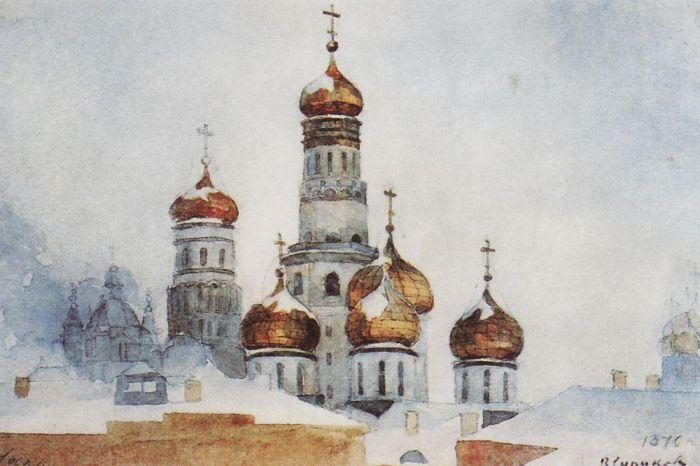 Колокольня Ивана Великого и купола Успенского собора. Василий Суриков. 1876 год, Третьяковка.