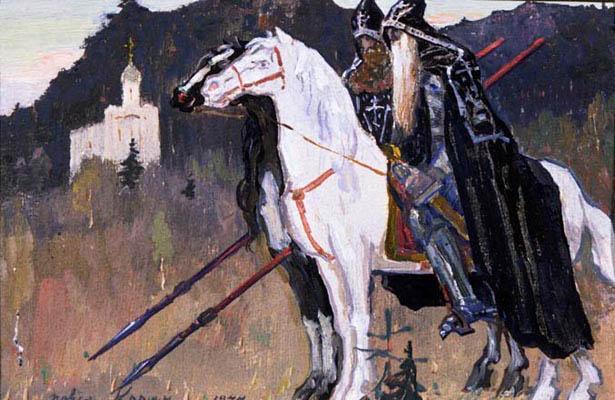 Первая правая часть: Пересвет и Ослябя. 1944 год. Эскиз.