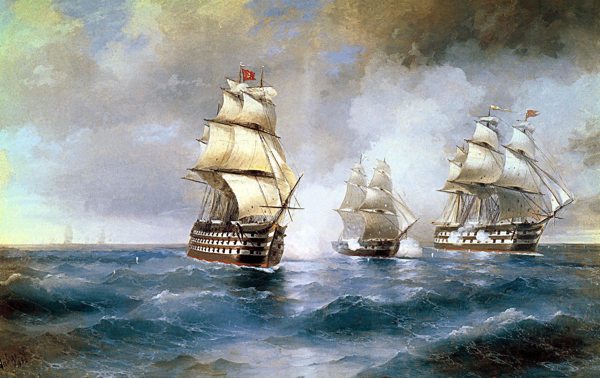 """Описание картины """"""""Меркурий"""", атакованный двумя турецкими кораблями"""" Ивана Айвазовского"""