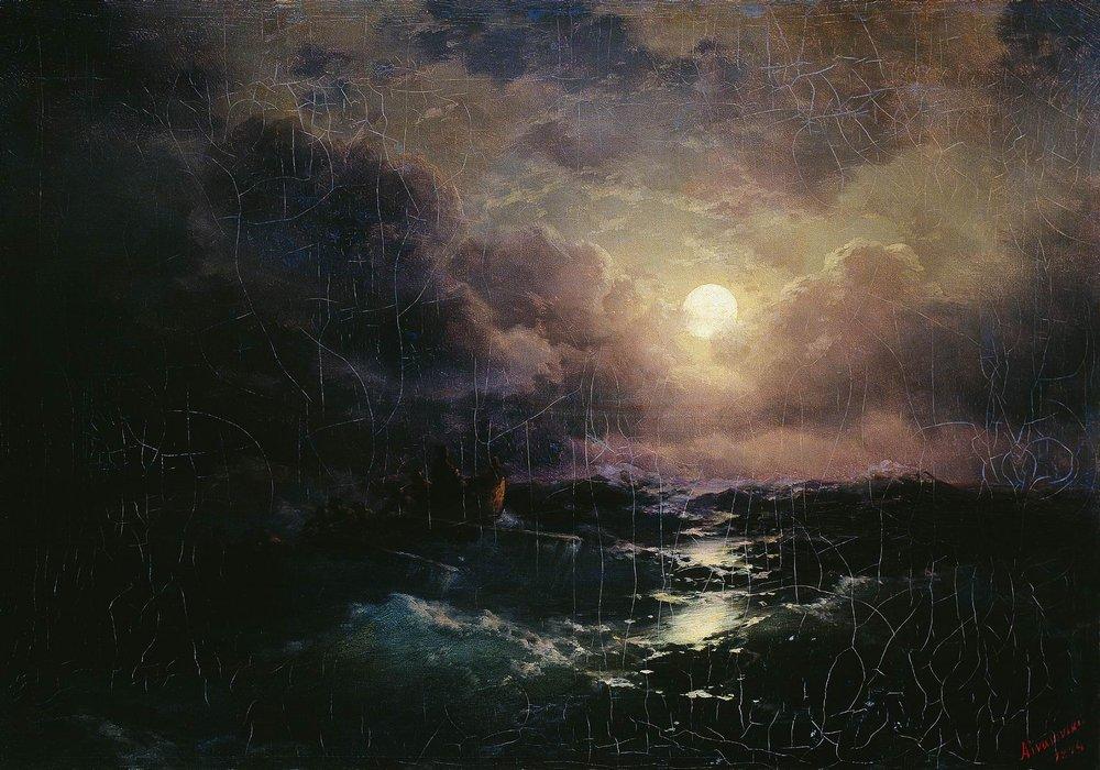 """Описание картины """"После бури. Восход луны"""" Ивана Айвазовского"""