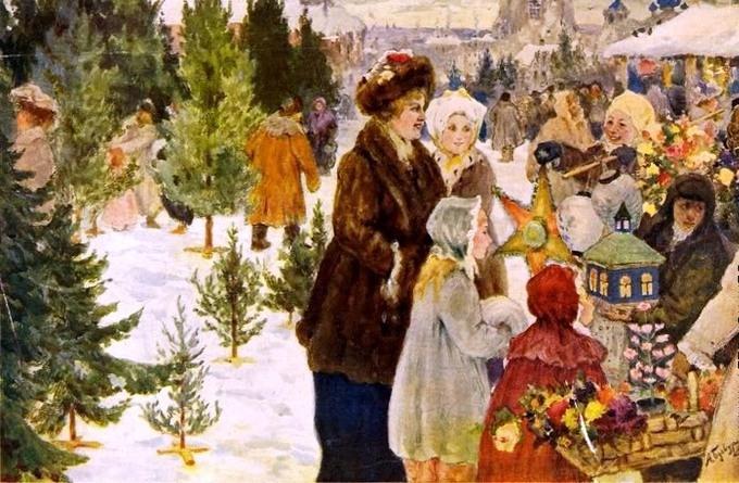 "Описание картины ""Рождественский базар"" Александра Бучкури"