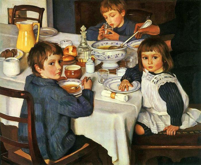 Описание картины «За обедом (За завтраком)» Зинаиды Серебряковой
